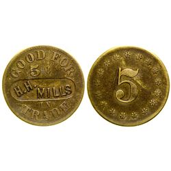 H.H. Mills Territorial Token (Butte City, Montana)