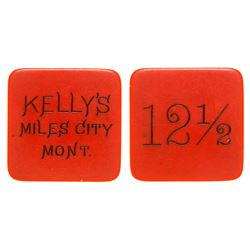 Kelly's Red Celluloid Token (Miles City, Montana)