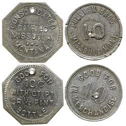 Pulliam Bros. and Consolidated Dairies Tokens (Missoula, Montana)