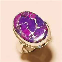 Purple Copper Turquoise RING Solid Sterling Silver