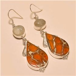 Orange Copper Turquoise/Moonstone Earring Solid Sterling Silver