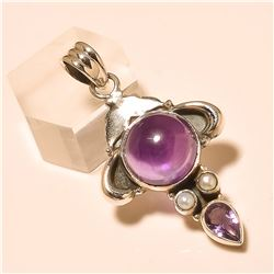 amethyst/pearl Pendant Solid Sterling Silver