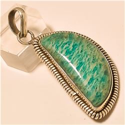 Amazonite Pendant Solid Sterling Silver