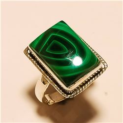 Malachite RING Solid Sterling Silver