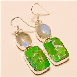 Green Copper Turquoise/Moonstone Earring Solid Sterling Silver