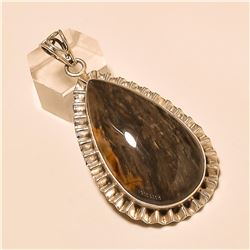 Black Agate Pendant Solid Sterling Silver