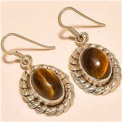 Tiger Eye Earring Solid Sterling Silver