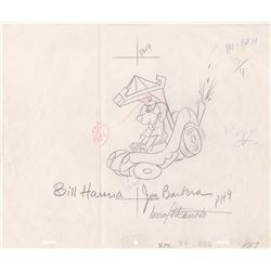 Drawing of Hong Kong Phooey Signed by Bill Hanna, Joe Barbera & Iwao Takamoto (Hanna Barbera, 1974)