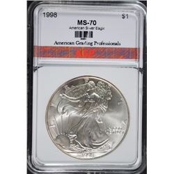 1998 AMERICAN SILVER EAGLE, AGP PERFECT GEM BU