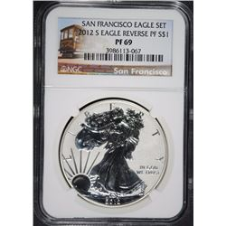 2012-S REVERSE PROOF AMERICAN SILVER EAGLE, NGC PF-69  TROLLEY LABEL