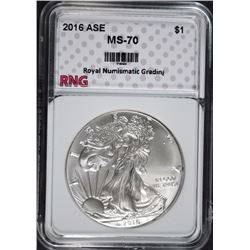 2016 AMERICAN SILVER EAGLE, RNG PERFECT GEM BU