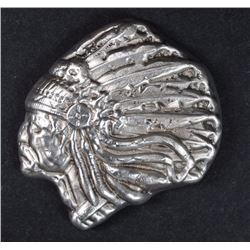 5 OUNCE .999 SILVER INDIAN CHIEF, VERY COOL SILVER  SPECIALTY PIECE