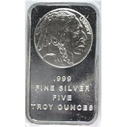 FIVE OUNCE .999 SILVER BAR, INDIAN/BUFFALO DESIGN