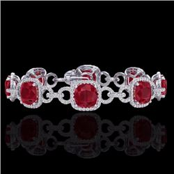 Natural 25 CTW Ruby & Micro Diamond Certified Bracelet 14K White Gold - 23028-REF#-316T7K