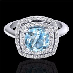 Natural 1.50 CTW Sky Blue Topaz & Micro Diamond Certified Halo Ring 18K White Gold - 20754-REF#-83X4
