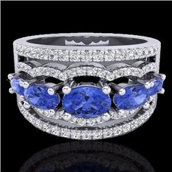 Natural 2.25 CTW Tanzanite & Micro Pave Diamond Certified Designer Ring 10K White Gold - 20807-REF#-