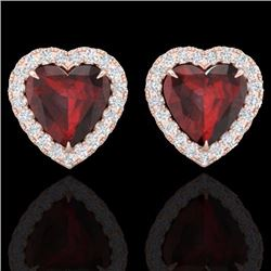 Natural 2.22 CTW Garnet & Micro Pave Diamond Earrings Heart Halo IN 14K Rose Gold - 21204-REF#-35Y2Z