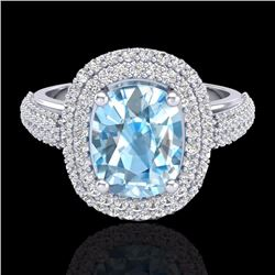 Natural 3.50 CTW Topaz & Micro Pave Diamond Certified Halo Ring 10K White Gold - 20709-REF#-90M4F