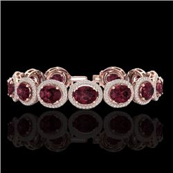 Natural 20 CTW Garnet & Micro Pave Diamond Certified Bracelet 10K Rose Gold - 22689-REF#-255S9V