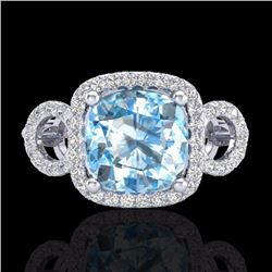 Natural 3.75 CTW Topaz & Micro Diamond Certified Ring 18K White Gold - 23012-REF#-83M8F