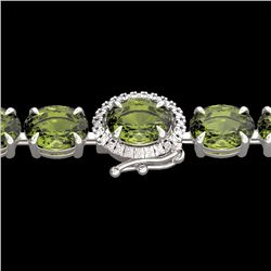 Natural 27 CTW Green Tourmaline & Diamond Tennis Micro Halo Bracelet 14K White Gold - 23428-REF#-202