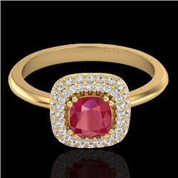 Natural 1.16 CTW Ruby & Micro Pave Diamond Ring Solitaire Double Halo 18K Yellow Gold - 21034-REF#-8