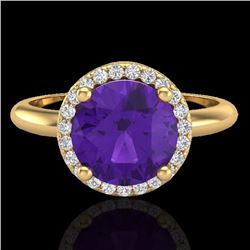 Natural 2 CTW Amethyst & Micro Pave Diamond Certified Ring Halo 18K Yellow Gold - 23205-REF#-53F2N
