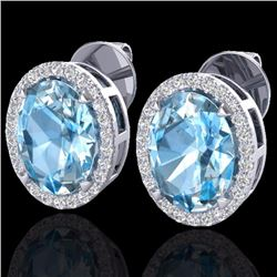 Natural 5.50 CTW Sky Blue Topaz & Micro Diamond Halo Earrings Ring 18K White Gold - 20243-REF#-74G6M
