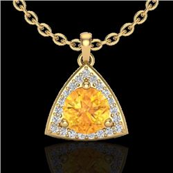 Natural 1.50 CTW Citrine & Micro Pave Halo Solitaire Diamond Necklace 18K Yellow Gold - 20522-REF#-4