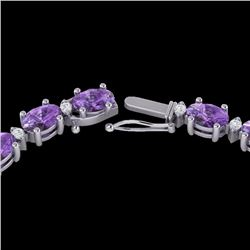 Natural 28 CTW Amethyst & Diamond Certified Eternity Tennis Necklace 10K White Gold - 21581-REF#-141