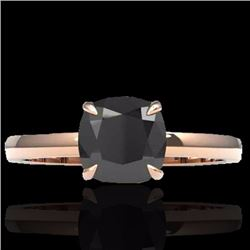 Natural 3 CTW Cushion cut Black Diamond Solitaire Engagement Ring 14K Rose Gold - 22134-REF#-66Y5Z