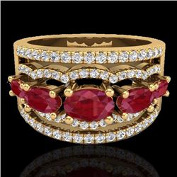 Natural 2.25 CTW Ruby & Micro Pave Diamond Certified Designer Ring 10K Yellow Gold - 20803-REF#-71Y4