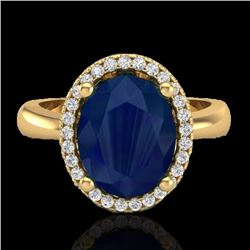 Natural 3 CTW Sapphire & Micro Pave Diamond Certified Ring Halo 18K Yellow Gold - 21115-REF#-46N6S