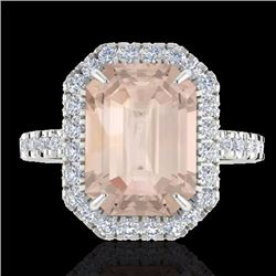Natural 4.50 CTW Morganite & Micro Pave Diamond Certified Halo Ring 18K White Gold - 21431-REF#-147Y