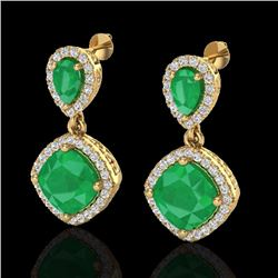 Natural 7 CTW Emerald & Micro Pave Diamond Certified Earrings Designer Halo 10K Yellow Gold - 20206-