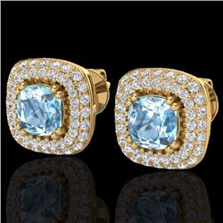 Natural 2.16 CTW Sky Blue Topaz & Micro Diamond Earrings Solitaire Halo 18K Yellow Gold - 20337-REF#