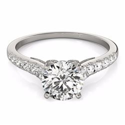 0.65 CTW Certified SI-I Diamond Solitaire Bridal  Ring 18K White Gold - 27489-#61T4Z
