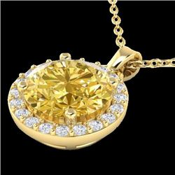 Natural 2 CTW Citrine & Halo Diamond Micro Pave Necklace Solitaire 18K Yellow Gold - 21559-REF#-33F7