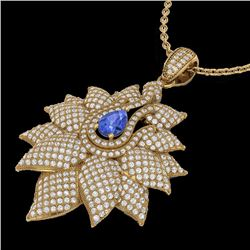Natural 3 CTW Tanzanite & Micro Pave Diamond Designer Necklace 18K Yellow Gold - 22575-REF#-186N8A