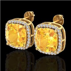 Natural 12 CTW Citrine & Micro Pave Halo Diamond Earrings Solitaire 18K Yellow Gold - 23060-REF#-76F