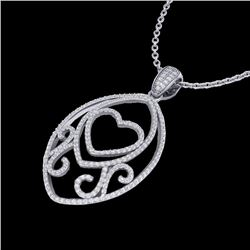 Natural 1.75 CTW Micro Pave Diamond Certified Designer Heart Necklace 18K White Gold - 22588-REF#-12