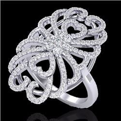 Natural 2.25 CTW Micro Pave Diamond Certified Designer Inspired Ring 18K White Gold - 20887-REF#-153
