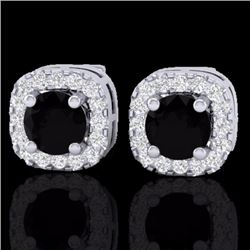 Natural .90 CTW Micro Pave Black & White Diamond SI Earrings Designer Halo IN 18K White Gold - 21169