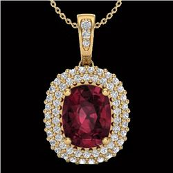 Natural 2.60 CTW Garnet & Micro Pave Diamond Certified Halo Necklace 10K Yellow Gold - 20409-REF#-40