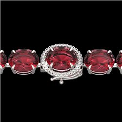 Natural 49 CTW Pink Tourmaline & Micro Diamond Halo Bracelet 14K White Gold - 22273-REF#-345T8K