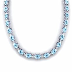 37.50 CTW AQUAMARINE & DIAMOND SI-I CERTIFIED ETERNITY TENNIS NECKLACE - 29416-#348X3A