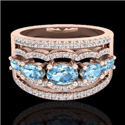 Natural 2.25 CTW Sky Blue Topaz & Micro Pave Diamond Certified Designer Ring 10K Rose Gold - 20794-R