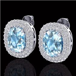Natural 6 CTW Sky Blue Topaz & Micro Pave Diamond Certified Halo Earrings 10K White Gold - 20112-REF