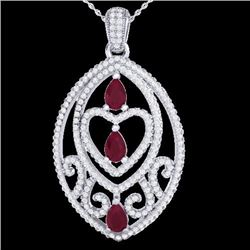 Natural 3.50 CTW Ruby & Micro Pave Diamond Heart Necklace Designer IN 18K White Gold - 21292-REF#-14