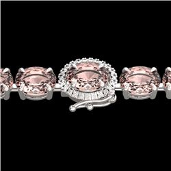 Natural 26 CTW Morganite & Diamond Eternity Tennis Micro Halo Bracelet 14K White Gold - 23431-REF#-2